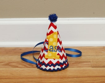 Boys 1st Birthday Party Hat - Blue, red, and yellow - Chevron and dots - Free personalization
