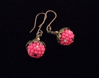 Coral Earrings / Beaded Bead Earrings / Brass Earrings / Leaf Earrings / Jeans Earrings / Tee Shirt Earrings
