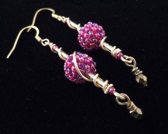 Beaded Earrings, Beaded Beads, Glass Earrings, Dangle Earrings, Long Earrings, Gold Earrings, Seed Bead Earrings
