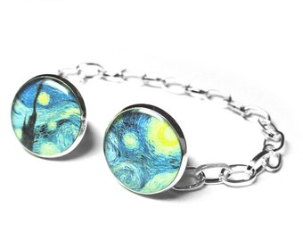Vincent Van Gogh, A Starry Night Collar Clips, Sweater Clips, Wedding Gift, Gift for Her, Painting, Resin, Collar Pins, Womens Accessories