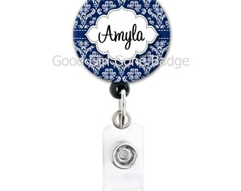 Personalized Name Badge Reel - Navy Blue Damask - Badge Reel, Steth Tag, Carabiner or Lanyard