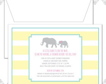Elephant Baby Shower invite - Modern Baby Shower Invite - Mama and Baby Elephant Invitation - Elephants Shower Invite - Baby Elephant Invite