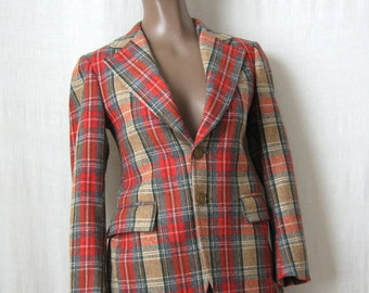 on HOLD / YSL Jacket Yves Saint Laurent Vintage Blazer Tartan Plaid Jacket 70s Wool Blazer