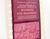 Vintage Educational Filmstrip - Film Strip - Numbers for Beginners - 35mm film - Preschool - Math - Counting