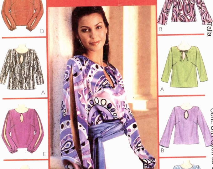 Boho casual tops pattern sewing pattern McCalls 3280 Evening wear Chic XSm to Medium Uncut