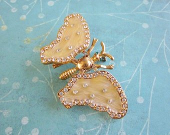 SALE Vintage Gold Toned Rhinestone and Enamel Butterfly Brooch With Flapping Wings