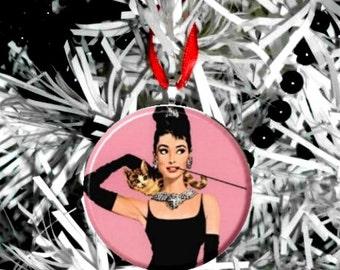 Breakfast at Tiffanys Audrey Hepburn Pink Ornament