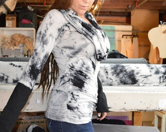 Cowl top,hooded shirt,extra long sleeves,long sleeve top,sexy shirt,plus size,tie dye,Herban Devi,organic clothing,yoga top,yoga shirt