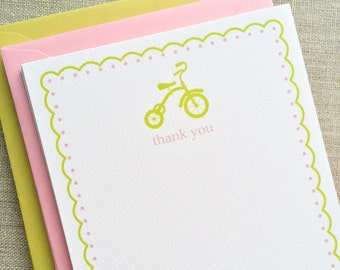 Flat Notecards | Kids Stationary | Custom Stationary Set | Simple Tricycle| Personalized Stationery Gift | Children's Gift