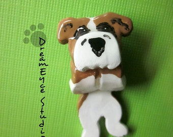 English Bulldog Fawn Hangin' On Artist Hand-made Clay Pendant I2