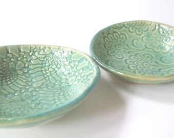 Lace Trinket Dishes, Set of Two, Light Green READY TO SHIP