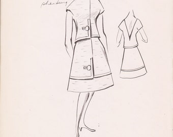 Vintage Fashion Sketch Clothing Print Illustration Drawing Art 1960s
