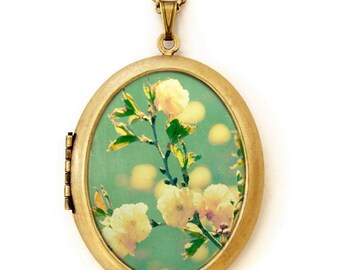 Photo Locket - Song For Spring - Romantic Yellow Flowers for Spring - Grande Photo Locket Necklace