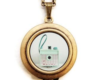 The Savoy - Pastel Mint Vintage Savoy Camera - Photo Locket Necklace