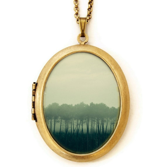 Shadows And Tall Trees - Landscape Nature Photo Locket Necklace