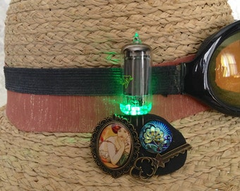 Art Nouveau brooch - light up steampunk jewelry - green LED brooch - Art Nouveau jewelry - vacuum tube pin - Alphonse Mucha jewelry