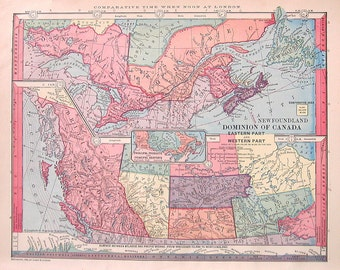 1885 Antique Map - The Dominion of Canada Eastern and Western Part - Geography Atlas Map - Antique Book Page - 12 x 9