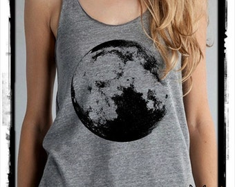 Full MOON Ladies Heathered Tank Top Shirt screenprint Alternative Apparel