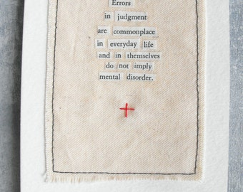 Fabric and Paper Collage / Psychology Series / Mixed Media Art Original / vintage text, machine stitching / OOAK Luluanne
