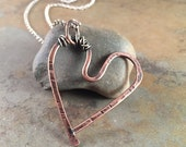 Copper and Sterling Silver Heart Necklace
