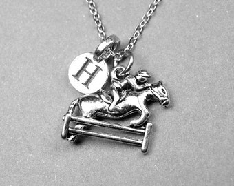 Equestrian Necklace, Horse Necklace, Horseback riding, personalized jewelry, initial necklace, personalized gift, monogram letter