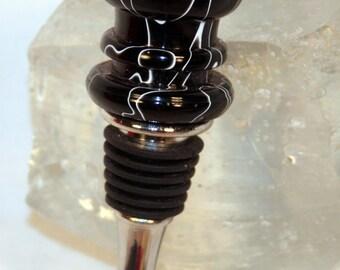 Handmade Black with White Swirl Acrylic Wine Stopper 2