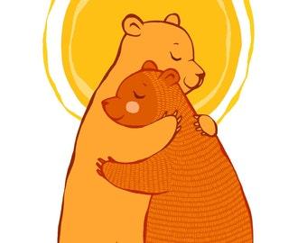 Hugging Bears print