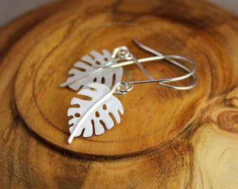 Philodendron sterling silver earrings - nature lover, wedding, bridal, bridesmaids, destination tropical wedding, tropical leaves