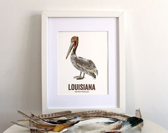 Louisiana State Bird, Nature art, Outdoor art, Vintage Map art, Art print, Wall decor, Rustic Nursery, Map prints - BROWN PELICAN