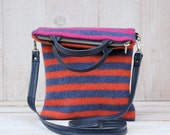 Striped Wool Fold Over Purse Wool Cross Body Bag Striped Wool Bag in Blue Orange and Pink