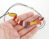 Wooden dachshund dog necklace, Cute dog pendant, dog colorful jewelry, gift for her