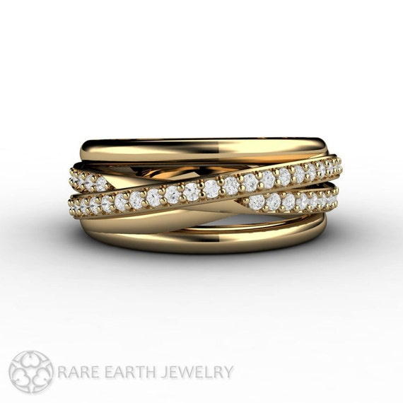 Triple Band Bands: Diamond Ring Triple Band Multi Band Rolling Ring By RareEarth