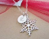 Personalized necklace, custom silver initial necklace, sterling silver snowflake necklace, winter wedding, snowflake charm, Christmas gift