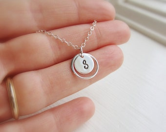 Personalized necklace, custom silver initial necklace, hand stamped initial charm in sterling silver circle frame, dainty silver necklace