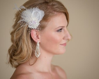 Wedding Fascinator Ivory  white and  Champagne Feathers with  French Veiling