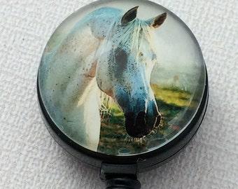 Retractable ID Badge  White Horse Black Markings  - Badge Reel - Name Badge Holder 174