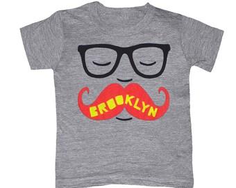 KIDS Brooklyn Mustache T-shirt - Boy Girl Toddler Youth Children Gray Tee Shirt Cute Beard Hipster Geek Funny New York NY NYC Grey Tshirt