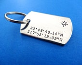 Coordinates Keychain - Latitude Longitude Dog Tag Keychain - Compass - Personalized Custom Accessory