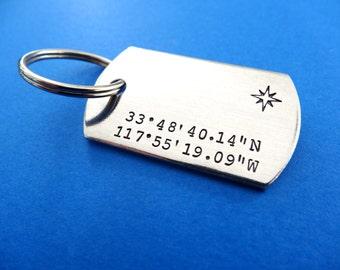 Coordinates Keychain - Latitude Longitude Dog Tag Keychain - Compass - Personalized Custom Accessory