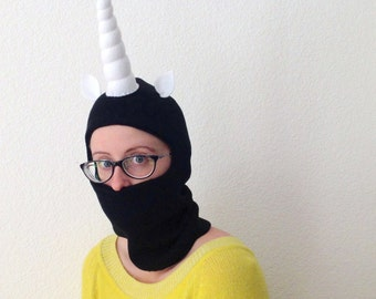 SALE Unicorn Horn Hoodie for Adults - Black Ski Mask with Terrifying Horn - Snowboarding Mask