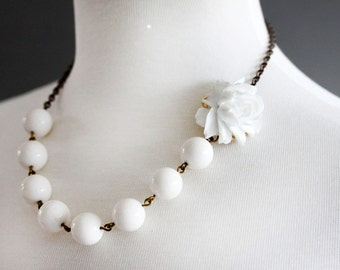 White Flower Necklace Statement Necklace, Wedding Necklace, Pure White Necklace, Wedding Jewelry Beadwork