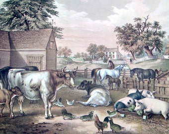 American Farm Yard - Evening Currier & Ives' Lithograph Reprint