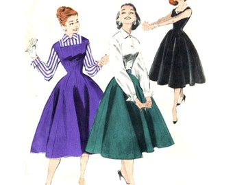 1950s Princess Dress / Jumper / Wing Collar Blouse - Vintage Sewing Pattern Butterick 7455 - Size 16 / Bust 34