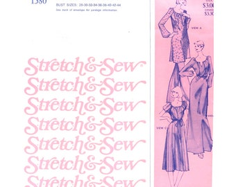 70s Peasant Dress Maxi or Regular Length / Tunic - Vintage Sewing Pattern - Stretch and Sew 1580 Ann Person - All Sizes Bust 28-44 Uncut
