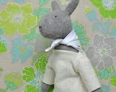 Hand Knit Bunny Rabbit Doll, Woodland Bunny, Knitted Rabbit, OOAK, Plush Doll