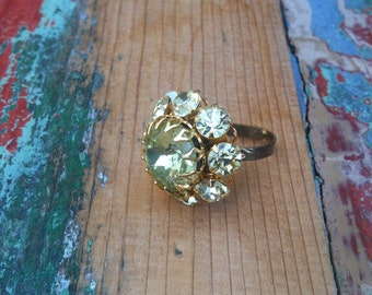 CLEARANCE - Vintage Yellow Jewel Button Ring - OOAK