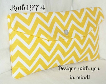 Yellow Clutch - Chevron Clutch - Bridesmaid Clutch - SALE -  Envelope Clutch - Premier Prints - Cosmo in Corn Yellow  - Birthday Gift Idea