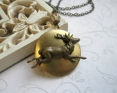 Deer locket necklace, brass, wildlife, keepsake, holiday necklace