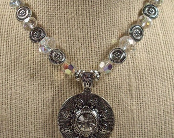 Super SALE! Necklace Silver and Crystal Beaded Jewelry