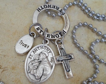 St. Anthony Charm Necklace, Wonder Worker, Strength, Trust, Inspirational Jewelry, Catholic Saint Medal